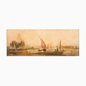 Sea Piece with Sailboat, End of 19th Century