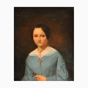 Portrait of a Young Woman, France, 1842, Oil Painting, Framed