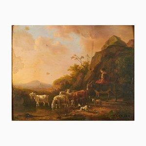 Dick Van Oosterhout (1765 - 1830), Paysage de Berger avec Bovins, Huile sur Bois, Encadré