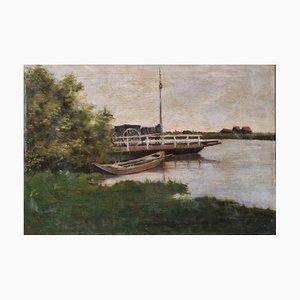 Paesaggio fluviale di scuola olandese, olio su tela