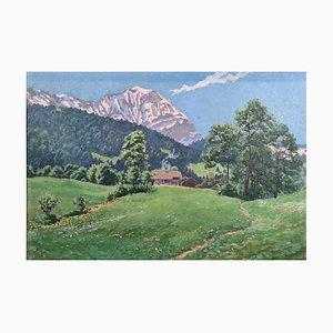Ekkehard Kohlund, Morning Mountain Horn, 1918, olio su cartone