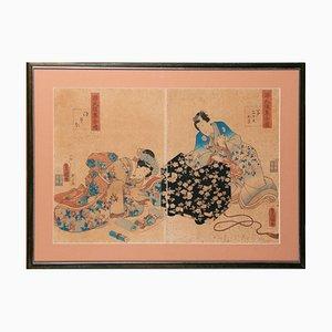 Utagawa Toyokuni Iii (Kunisada I), Diptych with Genji Monogatari Motif, Chapter 25, Hotaru, Genji Goshû Yojô Series
