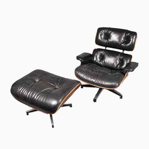 Lounge Chair with Ottoman by Eames for Herman Miller, USA, 1956, Set of 2