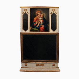 Empire Trumeau Mirror with Oil Painting of Maria & Child, Southern Germany, 1820s