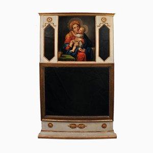 Empire Trumeau Spiegel mit Ölgemälde von Maria & Kind, Süddeutschland, 1820er