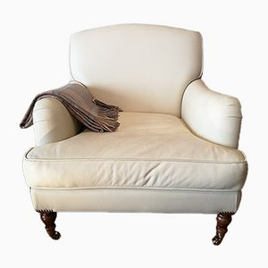 Hemingway Armchair in Anilina Leather & Mahogany Feet on Wheels
