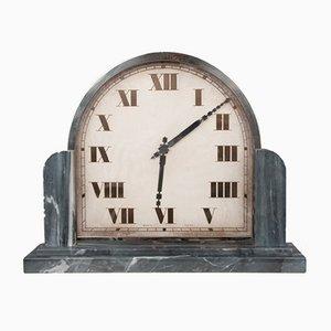 Art Deco Clock with Marble Base, Switzerland, 1930s