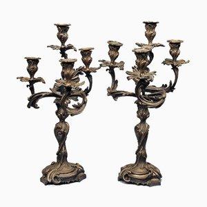 Große Jugendstil Kerzenständer, 2er Set