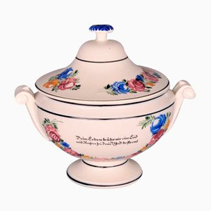 Painted & Glazed Earthenware Soup Tureen from Matzendorfer, 18th or 19th Century