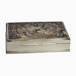 925 Silver & Tropical Wood Tobacco Box, Thailand, Late-19th Century