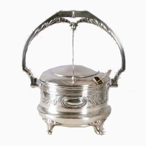 Art Nouveau 800 Silver Sugar Bowl with Crystal Glass Insert, Italy, 1900s