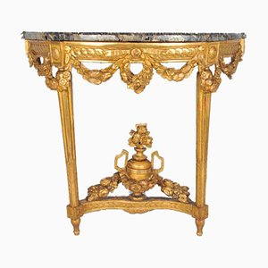 Charles X Demilune Wall Console with Marble Top, France, 1830s