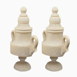Cast and Finely Chased Alabaster Lidded Vases, France, 19th Century, Set of 2