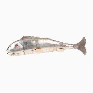 Fisch Silber als Dose für Gewürze artikuliert, Wien, Österreich, 1838