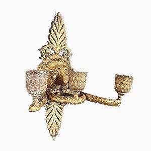 Candelabros de pared estilo Imperio de bronce dorado, década de 1900. Juego de 2