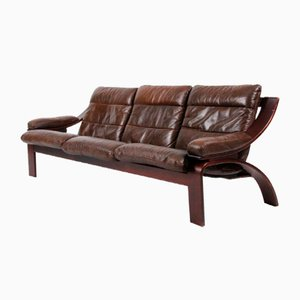 Dänisches Mid-Century 3-Sitzer Sofa aus braunem Leder, 1970er