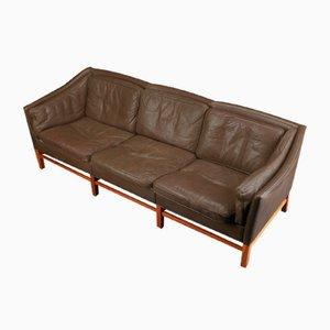 Dänisches Mid-Century 3-Sitzer Ledersofa von Grant Mobelfabrik