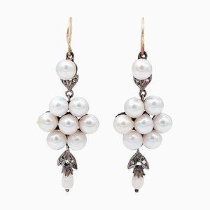 Orecchini pendenti in oro rosa 14 carati e argento con perle e diamanti