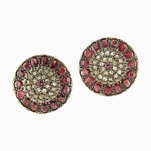 Orecchini a clip con rubini e diamanti in oro rosa e argento