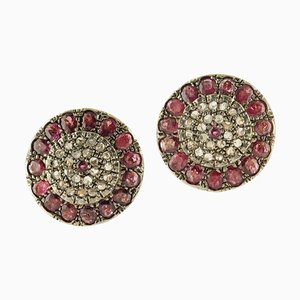 Rubies and Diamonds Clip-on Earrings in Rose Gold and Silver