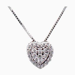 Collana con ciondolo a forma di cuore in oro bianco e diamanti bianchi