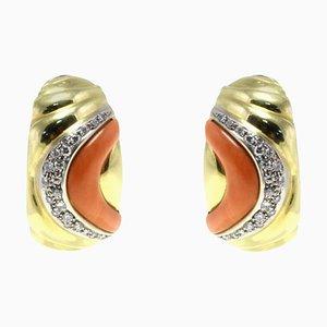 Orecchini a clip con diamanti bianchi, corallo rosso e oro giallo 18 carati, set di 2