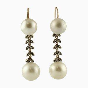 South Sea Pearl, Diamond, 9 Karat Rose Gold and Silver Dangle Earrings, Set of 2