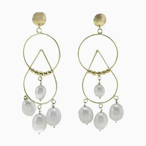 Ohrringe aus Weißer Perle und 18 Karat Gelbgold, 2er Set
