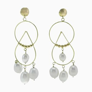 White Pearl & 18Kt Yellow Gold Drop Earrings, Set of 2