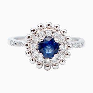 Bague Solitaire de Fiançailles en Saphir Bleu, Diamant et Or Blanc 18 Carats
