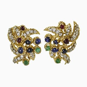 Diamond, Sapphire, Ruby, Emerald & Yellow Gold Earrings, Set of 2