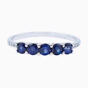 Bague Saphir Bleu, Diamant et Or Blanc 18 Carats