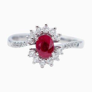 Anello di fidanzamento con rubino, diamante bianco e oro bianco a 18 carati