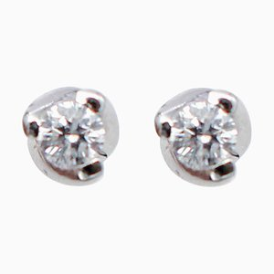 Diamant & 18 Karat Weißgold Ohrstecker, 2er Set