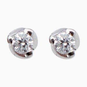 Diamond & 18 Karat White Gold Stud Earrings, Set of 2