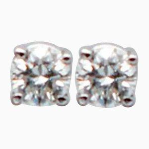 White Diamond & 18 Karat White Gold Stud Earrings, Set of 2
