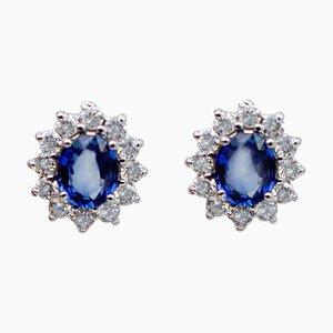 Blauer Saphir, Weißer Diamant & 14 Karat Weißgold Ohrstecker, 2er Set