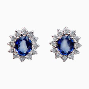 Blue Sapphire, White Diamond & 14 Karat White Gold Stud Earrings, Set of 2