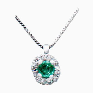 Emerald, Diamond & 18 Karat White Gold Pendant Necklace