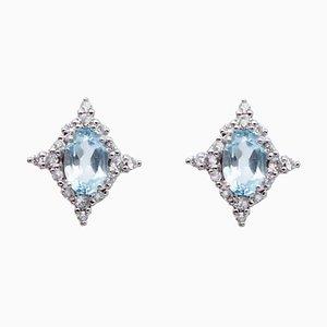 Aquamarine, White Diamond & 18 Karat White Gold Stud Earrings, Set of 2