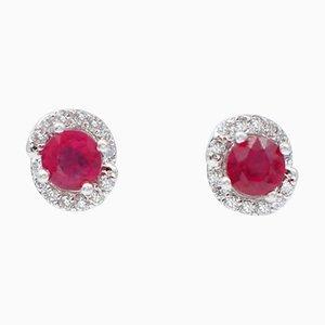 Ruby, Diamond & 18 Karat White Gold Stud Earrings, Set of 2