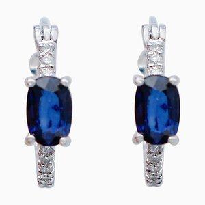 Oval Blue Sapphire, White Diamond & 18 Karat White Gold Hoop Earrings, Set of 2