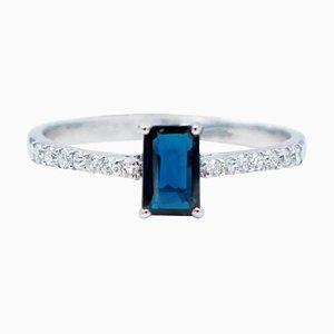 Blue Sapphire, White Diamond & 18 Karat White Gold Ring