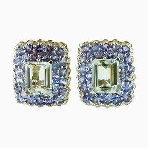 Diamond, Tanzanite, Aquamarine & 14 Karat White Gold Clip-on Earrings, Set of 2