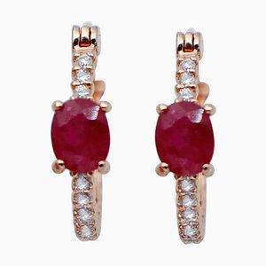 Oval Ruby, White Diamond & 18 Karat Rose Gold Hoop Earrings, Set of 2