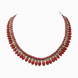 Collana in corallo, diamanti, oro rosa 9 carati e argento