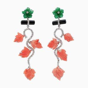 Diamond, Onyx, Green Agate, Coral & 14 Karat White Gold Dangle Earrings, Set of 2