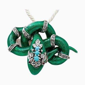 Broche o colgante de diamantes, rubí, turquesa, esmalte, oro de 14 quilates y plata