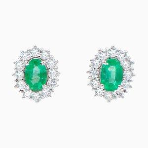 Emerald, Diamond & 18 Karat White Gold Earrings, Set of 2