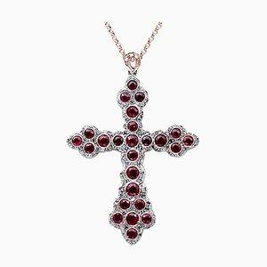 Collana con ciondolo in diamanti, rubini, oro rosa 9 carati e argento